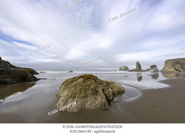 Reflections in a tide pool on Bandon Beach at low tide, Bandon, Oregon, USA