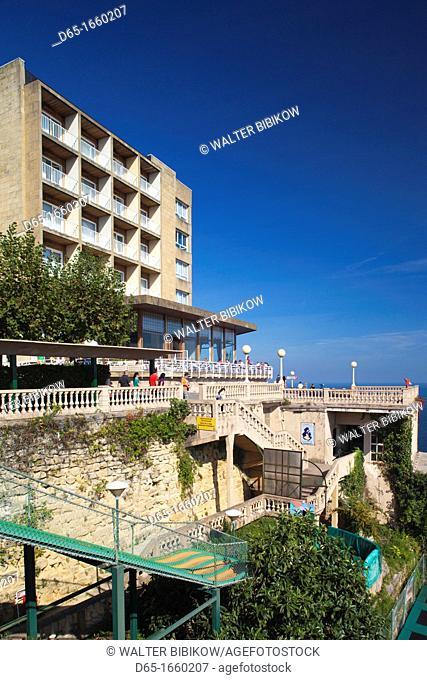 Spain, Basque Country Region, Guipuzcoa Province, San Sebastian, Monte Igueldo, funicular station and Mercure Hotel