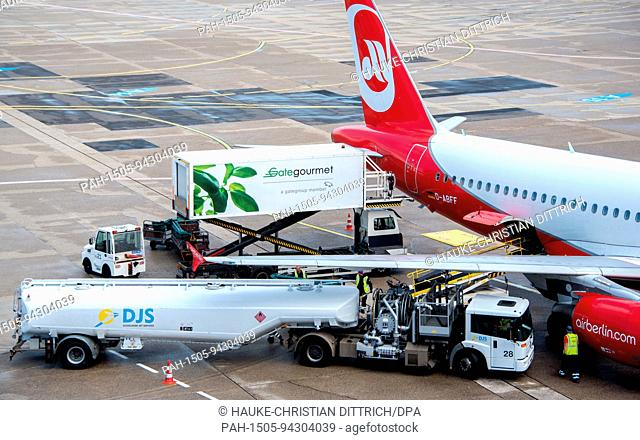 An aircraft type Airbus A320-214 of the airline Air Berlin at the airport of Dusseldorf (Germany), 03 August 2017.   usage worldwide