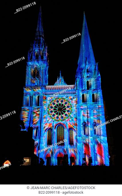 'Chartres en Lumières', Lights of Chartres, light show on Chartres cathedral, Chartres, Eure-et-Loir, Centre, France. Lighting designer : Benoît...