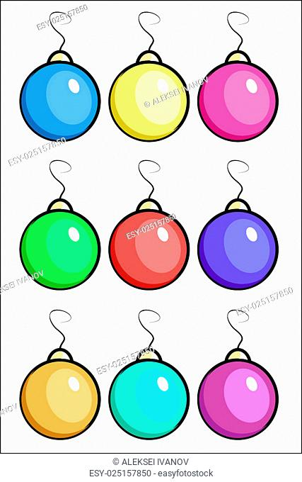 Illustration of nine Christmas balls of different colors