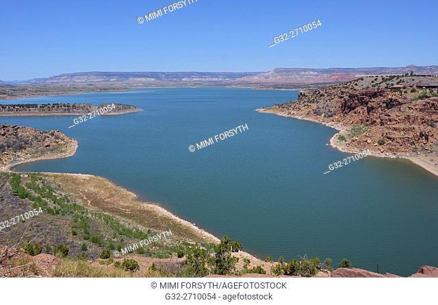 Abiquiu lake. Water of Rio Chama impounded as a reservoir. Rio Arriba county, New Mexico, USA