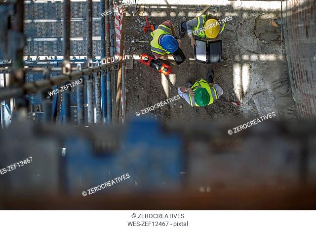 Construction workers on a construction site