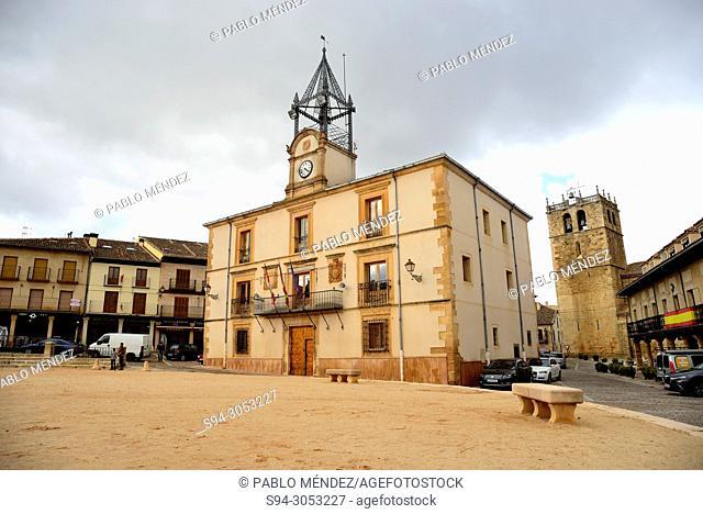 Town Hall and Main square of Riaza, Segovia, Spain