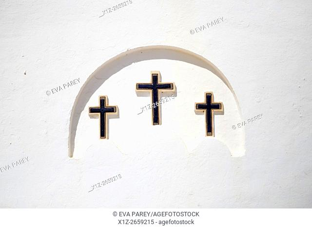 The three crosses of the church of El Pilar of La Mola. Formentera (Balearic Islands)