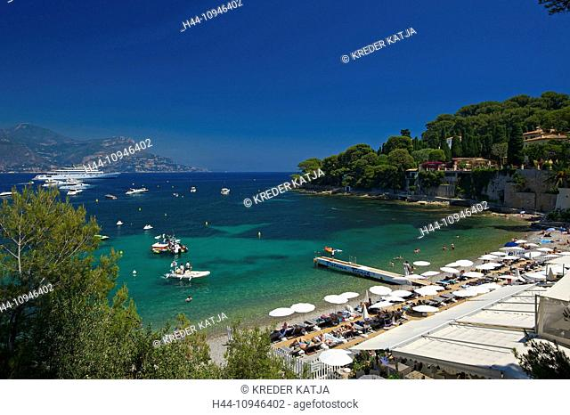 France, Europe, South of France, Cote d'Azur, Plage Paloma, Saint Jean, Cap Ferrat, sand beach, beach, seashore, coast, seashore, sea, outside, day