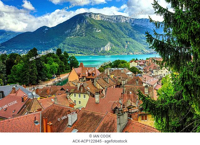city and Annecy Lake viewed from Chateau d'Annecy, Annecy, Haute-Savoie department, Auvergne-Rhône-Alpes, France
