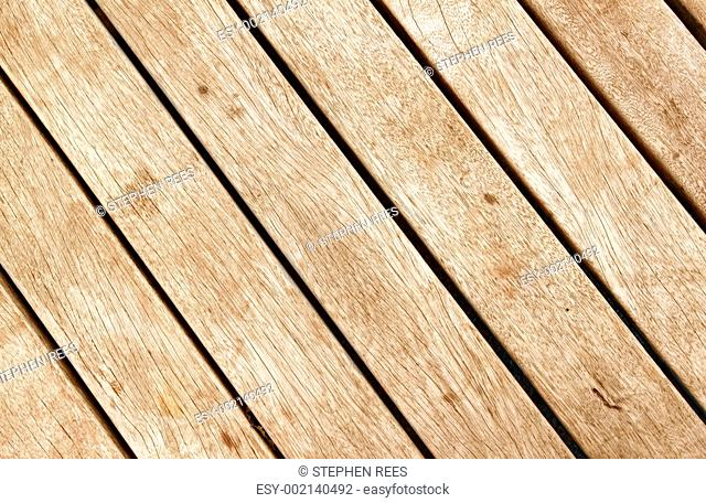 Close up of wood decking planks
