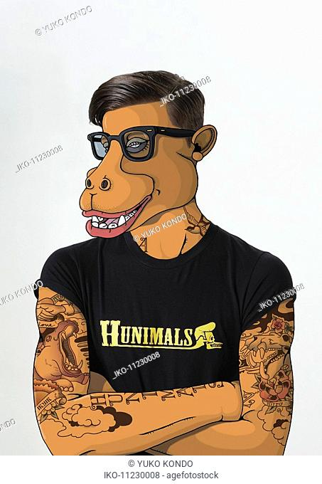 Man with tattoos and hippopotamus face
