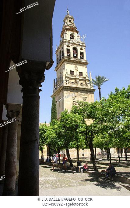 Patio de los Naranjos, courtyard and minaret tower of the Great Mosque. Córdoba. Spain