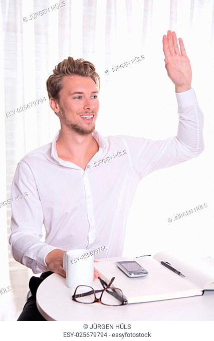 young business man greeting someone