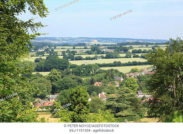 view across the village and hampshire from the top of the zig-zag path at Selborne