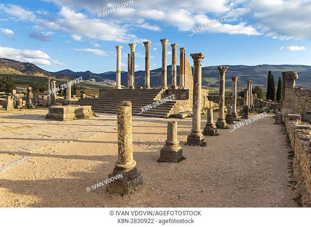 Capitoline Temple, Roman ruins, Volubilis, Morocco
