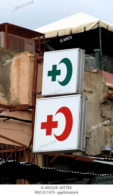 Marocco, Africa, Place Djemaa El Fna Marrakech, Souks, red cross, red crescent