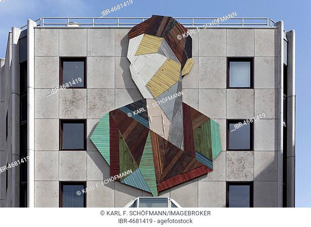 Abstract portrait, made of wooden pieces, Mural by Belgian artist Strook, The Crystal Ship Festival 2017, Ostend, West-Flanders, Belgium