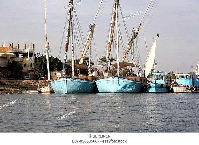 feluccas at the west bank of the Nile in Luxor, Egypt