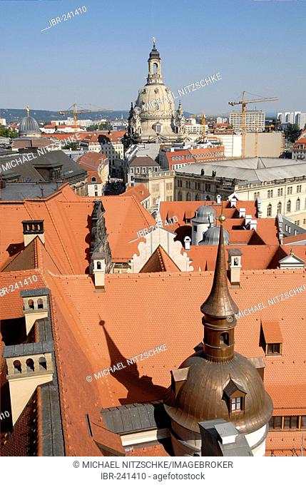 Residenz castle and cupola of the Frauenkirche, Dresden, Saxony, Germany