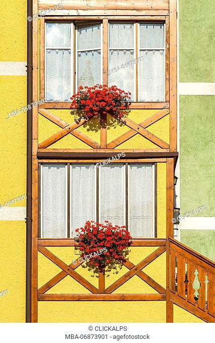 A detail of a home of San Martino di Castrozza, Trento province, Trentino Alto Adige, Italy, Europe