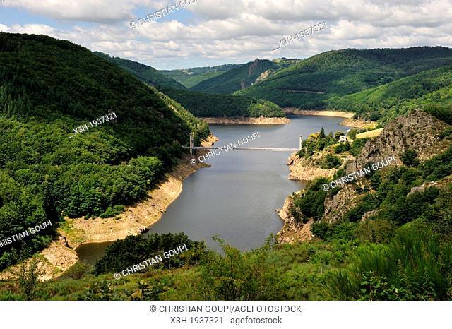 suspension bridge, Pont de Treboul over La Truyere River, Cantal department, Auvergne region, France, Europe