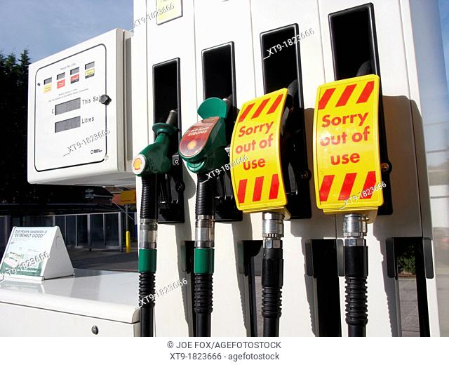 sorry out of use labels on diesel and petrol fuel pump uk united kingdom