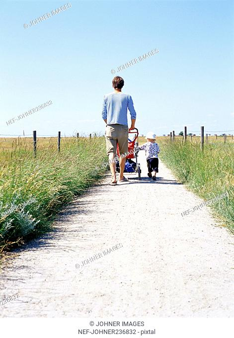 Father and child on a walk