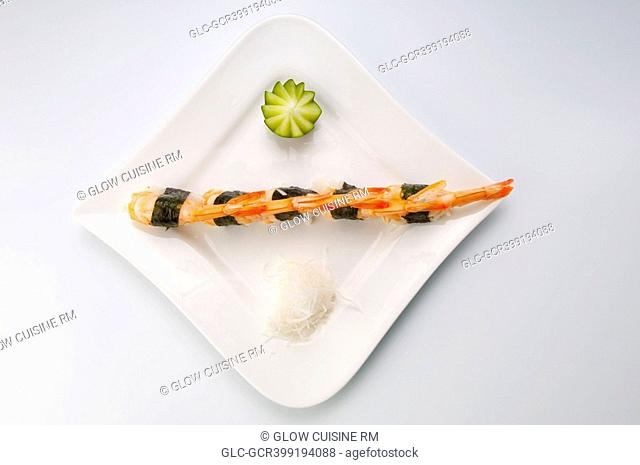 High angle view of sushi in a plate
