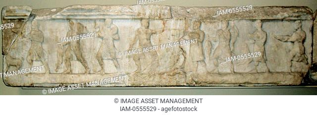 Architrave frieze. Young men are shown rushing forwards with food and wine for a feast. Greek circa 4th-5th century BC