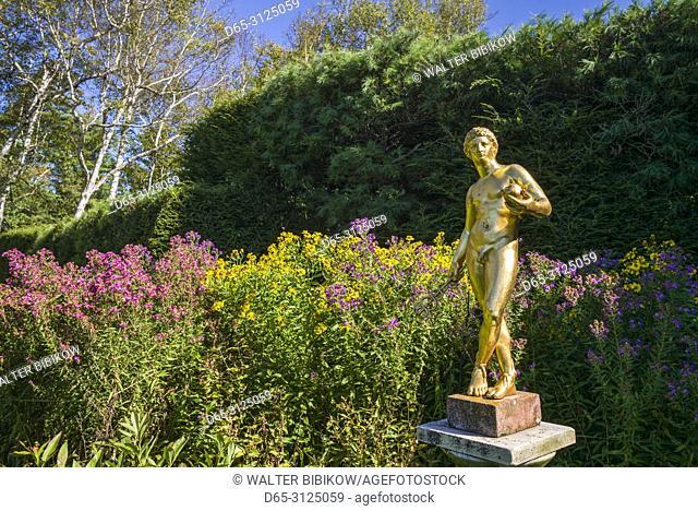 USA, New England, New Hampshire, Cornish, Saint-Gaudens National Historic Site, former home of 19th century sculptor, Augustus Saint-Gaudens, gold garden statue