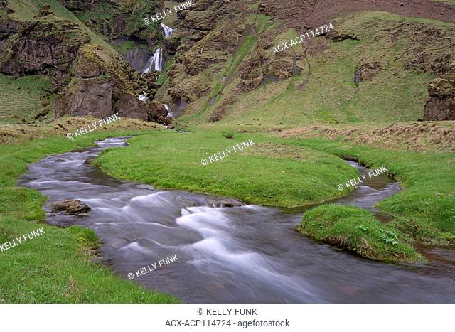 The Uxafotarlaekur creek in south east Iceland, Europe