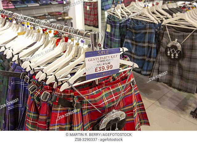 Mens party tartan kilts on sale in a store in Edinburgh,Scotland