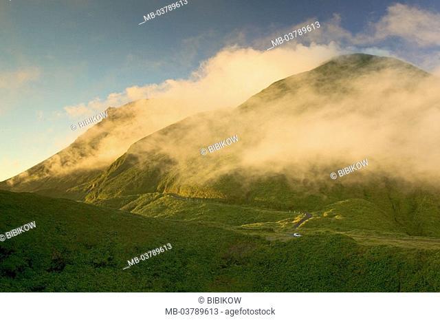 Guadeloupe, Basse-Terre, La Soufiere, volcano, fogs, mist