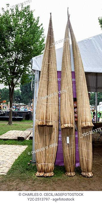 Totora Rafts from Huanchaco, Peru on Display at Smithsonian Peru Folklife Festival, Washington, D. C