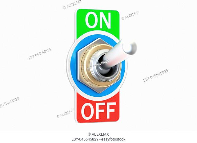 switch on and off, 3D rendering isolated on white background