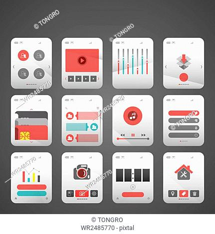 Set of various mobile button icons