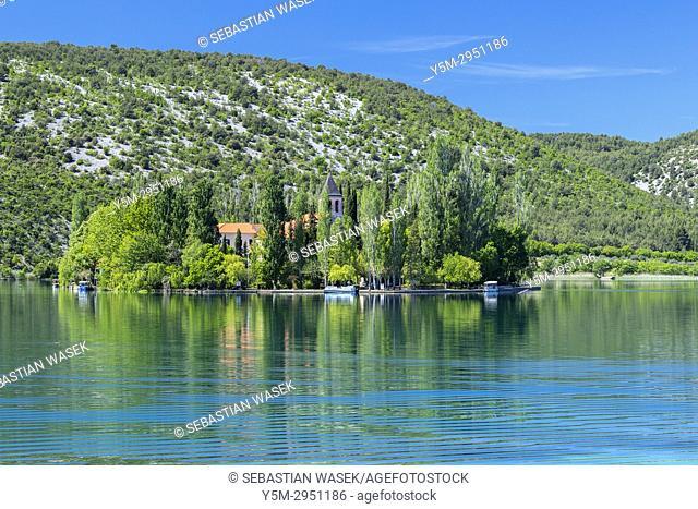 Visovac Monastery at Visovacko jezero, Krka National Park, Bristane, Sibensko-Kninska, Dalmatia, Croatia, Europe