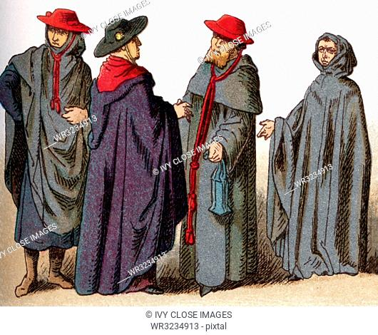 The illustrations shown here depict ecclesiastical costumes. They are, from left to right: Three caps worn for ordinary use by bishops and cardinals and a Cap...