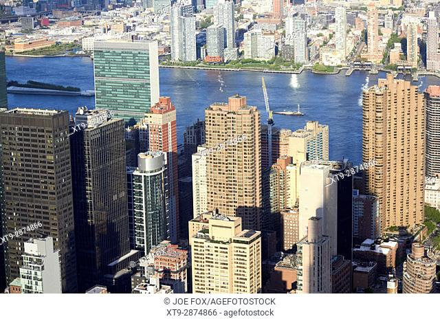 aerial view over murray hill towards the UN building east river and queens New York City USA