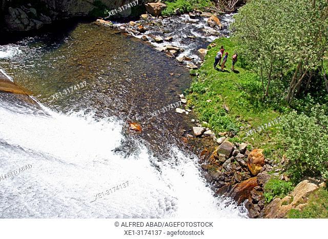 Waterfall of the reservoir, Vall de Nuria, Girona, Catalonia, Spain