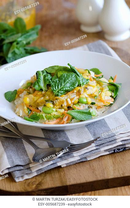 Thai coconut curry with edamame beans, rice and lemongrass
