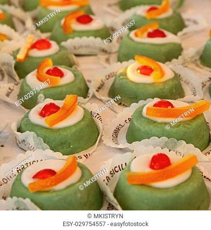 Sicilian sweets - Cassata siciliana, many pieces on display in italian pasticceria