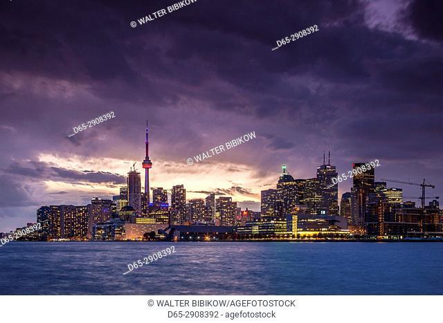Canada, Ontario, Toronto, skyline from Polson Pier, dusk