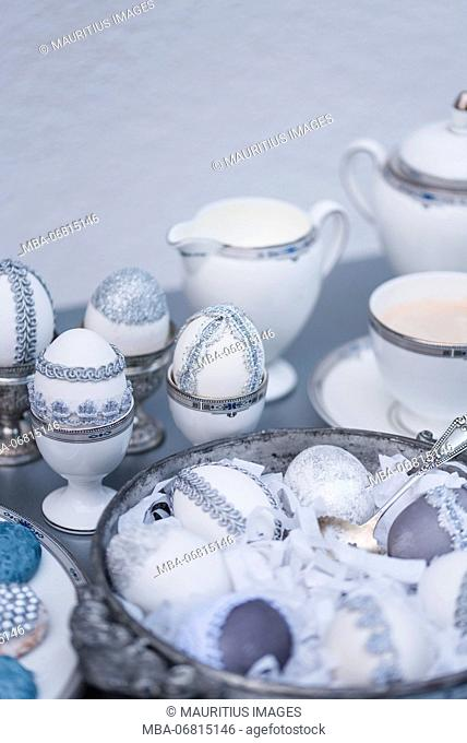 Easter eggs, grey, lace, tin plate, detail