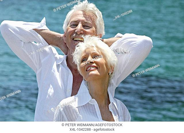 happy senior couple on summer holidays