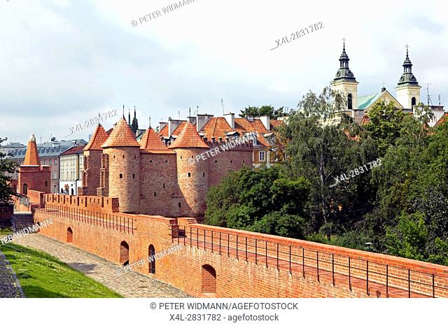 Barbican fortress in Warsaw, Poland, Europe