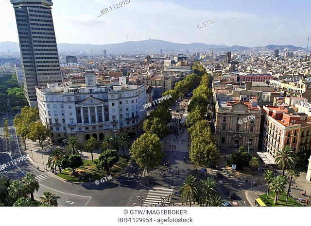View over the Plaza Portal de la Pau and the Ramblas, Barcelona, Catalonia, Spain