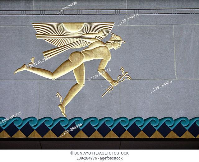 Imprinted gold figure outside Rockefeller Center. New York City, USA