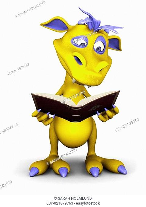 Cute cartoon monster reading a book