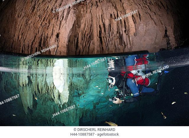 Scuba diver in Bat Cave Cenote, Playa del Carmen, Yucatan Peninsula, Mexico