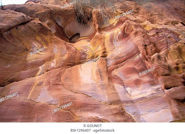 Eroded sandstone in the Wadi Rum desert, in Jordan