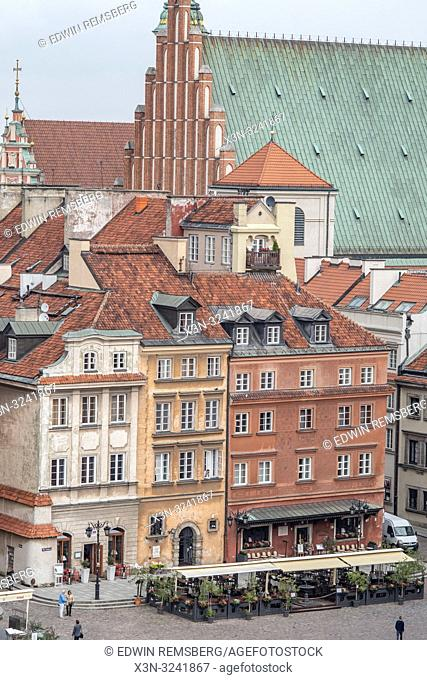 Birds eye view of shops in Warsaw, Poland